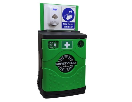 SafetyHub Mobile Sanitiser Station with Cabinet